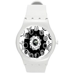 Fluctuation Hole Black White Circle Round Plastic Sport Watch (m)