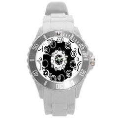 Fluctuation Hole Black White Circle Round Plastic Sport Watch (l)
