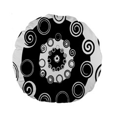 Fluctuation Hole Black White Circle Standard 15  Premium Round Cushions