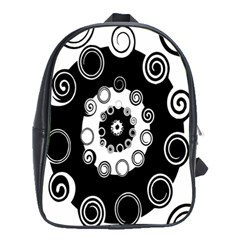 Fluctuation Hole Black White Circle School Bags (xl)
