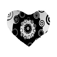 Fluctuation Hole Black White Circle Standard 16  Premium Heart Shape Cushions