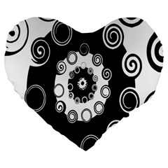 Fluctuation Hole Black White Circle Large 19  Premium Heart Shape Cushions