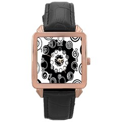 Fluctuation Hole Black White Circle Rose Gold Leather Watch