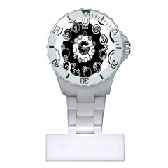 Fluctuation Hole Black White Circle Plastic Nurses Watch