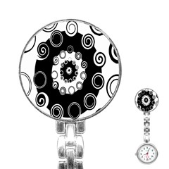 Fluctuation Hole Black White Circle Stainless Steel Nurses Watch