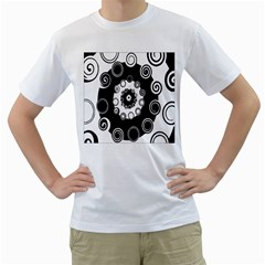 Fluctuation Hole Black White Circle Men s T Shirt (white)