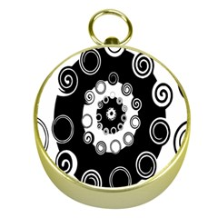 Fluctuation Hole Black White Circle Gold Compasses