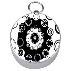 Fluctuation Hole Black White Circle Silver Compasses