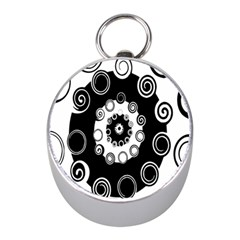 Fluctuation Hole Black White Circle Mini Silver Compasses