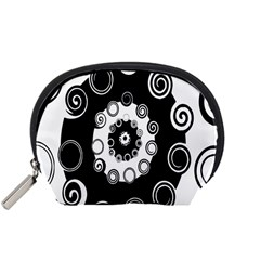 Fluctuation Hole Black White Circle Accessory Pouches (small)
