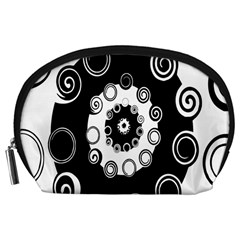 Fluctuation Hole Black White Circle Accessory Pouches (large)