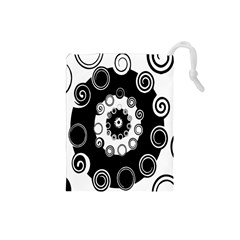 Fluctuation Hole Black White Circle Drawstring Pouches (small)