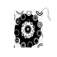 Fluctuation Hole Black White Circle Drawstring Pouches (medium)