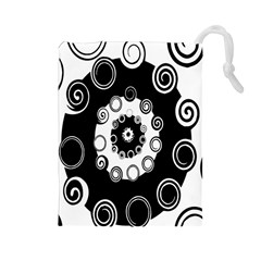 Fluctuation Hole Black White Circle Drawstring Pouches (large)