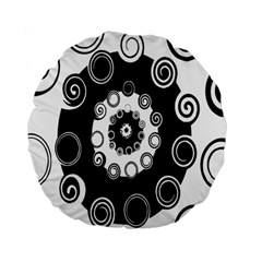 Fluctuation Hole Black White Circle Standard 15  Premium Flano Round Cushions