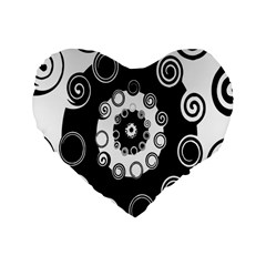 Fluctuation Hole Black White Circle Standard 16  Premium Flano Heart Shape Cushions