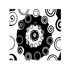 Fluctuation Hole Black White Circle Small Satin Scarf (square)
