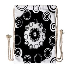 Fluctuation Hole Black White Circle Drawstring Bag (large)