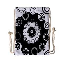 Fluctuation Hole Black White Circle Drawstring Bag (small)