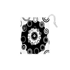 Fluctuation Hole Black White Circle Drawstring Pouches (xs)