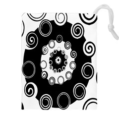Fluctuation Hole Black White Circle Drawstring Pouches (xxl)