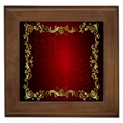 3d Red Abstract Pattern Framed Tiles by Simbadda