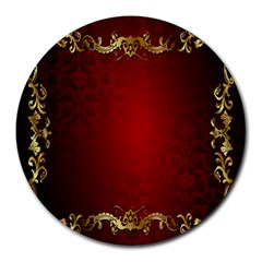 3d Red Abstract Pattern Round Mousepads by Simbadda
