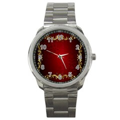 3d Red Abstract Pattern Sport Metal Watch by Simbadda