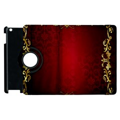3d Red Abstract Pattern Apple Ipad 3/4 Flip 360 Case by Simbadda