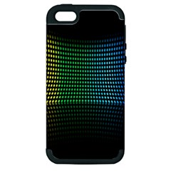 Abstract Multicolor Rainbows Circles Apple Iphone 5 Hardshell Case (pc+silicone) by Simbadda