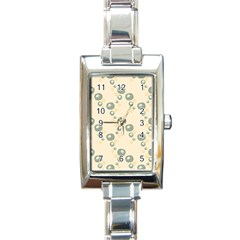 Flower Floral Pink Rectangle Italian Charm Watch