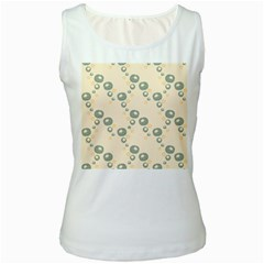 Flower Floral Pink Women s White Tank Top
