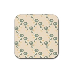 Flower Floral Pink Rubber Square Coaster (4 Pack)