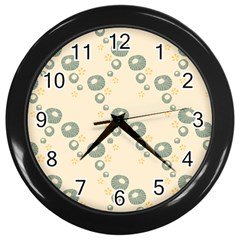 Flower Floral Pink Wall Clocks (black)