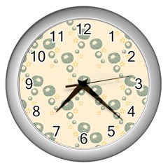 Flower Floral Pink Wall Clocks (silver)