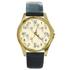 Flower Floral Pink Round Gold Metal Watch