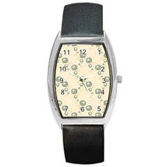 Flower Floral Pink Barrel Style Metal Watch