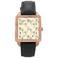Flower Floral Pink Rose Gold Leather Watch
