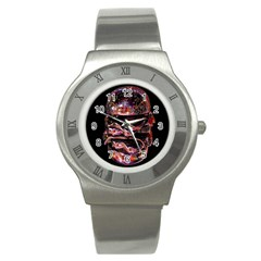 Hamburgers Digital Art Colorful Stainless Steel Watch by Simbadda