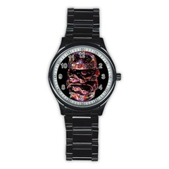 Hamburgers Digital Art Colorful Stainless Steel Round Watch by Simbadda
