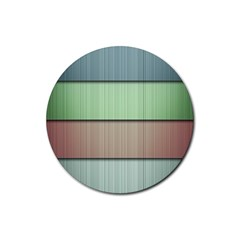 Lines Stripes Texture Colorful Rubber Coaster (round)  by Simbadda