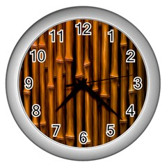 Abstract Bamboo Wall Clocks (silver)