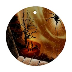 Digital Art Nature Spider Witch Spiderwebs Bricks Window Trees Fire Boiler Cliff Rock Ornament (round) by Simbadda