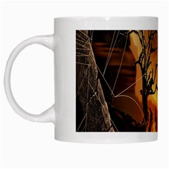 Digital Art Nature Spider Witch Spiderwebs Bricks Window Trees Fire Boiler Cliff Rock White Mugs by Simbadda