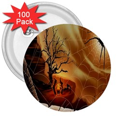 Digital Art Nature Spider Witch Spiderwebs Bricks Window Trees Fire Boiler Cliff Rock 3  Buttons (100 Pack)  by Simbadda