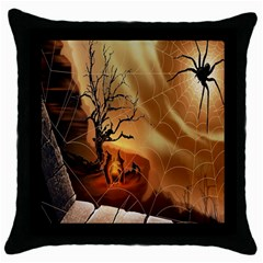Digital Art Nature Spider Witch Spiderwebs Bricks Window Trees Fire Boiler Cliff Rock Throw Pillow Case (black) by Simbadda