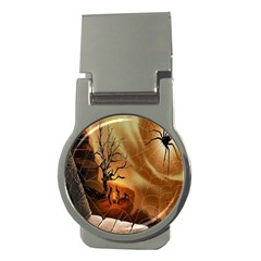 Digital Art Nature Spider Witch Spiderwebs Bricks Window Trees Fire Boiler Cliff Rock Money Clips (round)  by Simbadda
