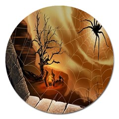 Digital Art Nature Spider Witch Spiderwebs Bricks Window Trees Fire Boiler Cliff Rock Magnet 5  (round) by Simbadda