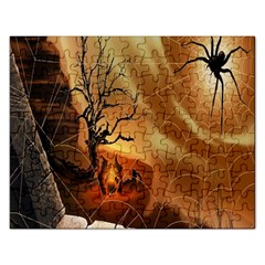 Digital Art Nature Spider Witch Spiderwebs Bricks Window Trees Fire Boiler Cliff Rock Rectangular Jigsaw Puzzl by Simbadda
