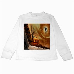 Digital Art Nature Spider Witch Spiderwebs Bricks Window Trees Fire Boiler Cliff Rock Kids Long Sleeve T Shirts by Simbadda